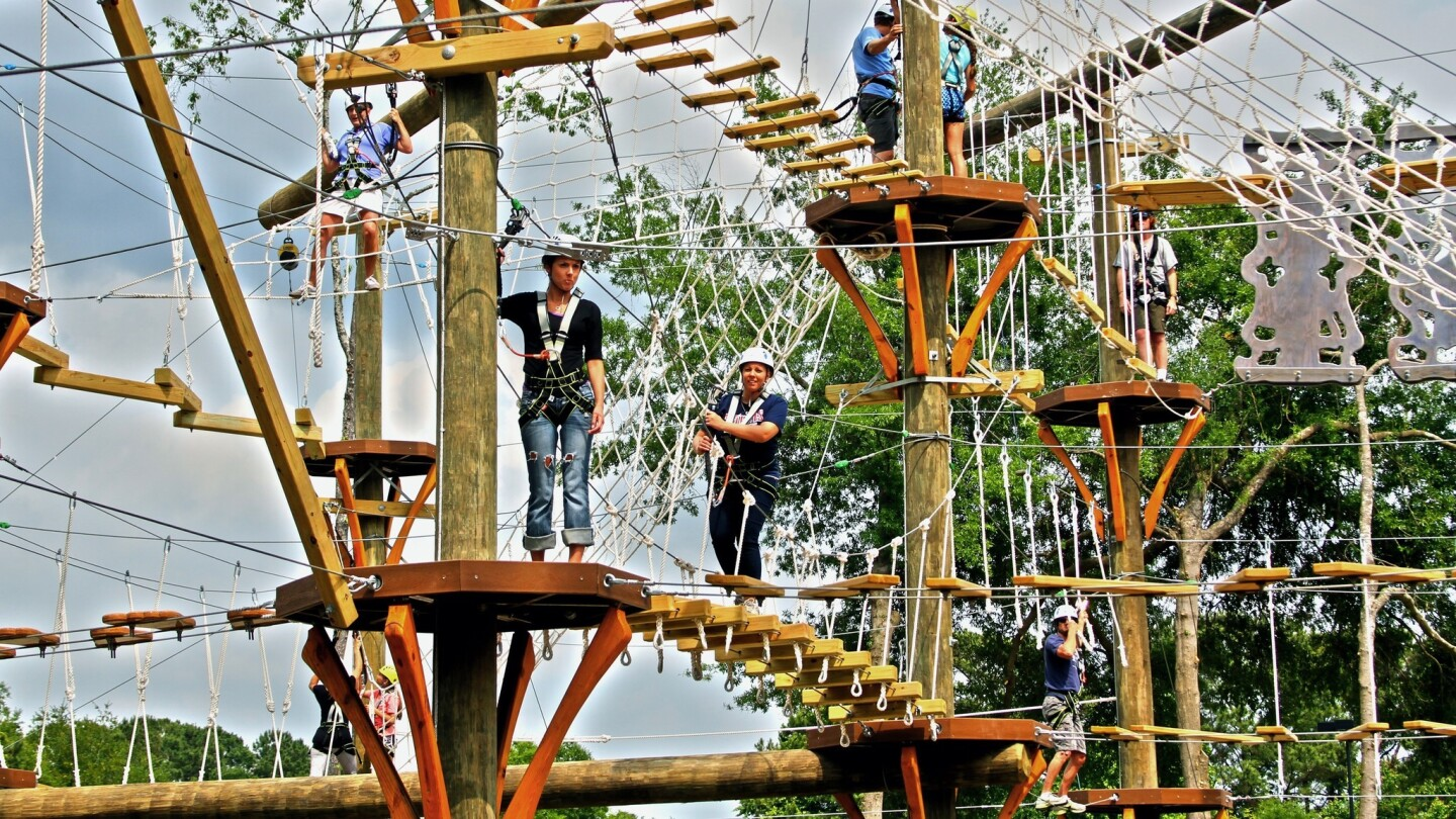 Children and adults enjoy a ropes course, learning various techniques about climbing.