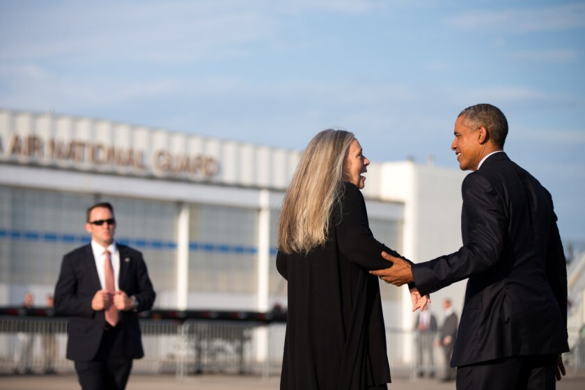 Writer Marilynne Robinson with President Obama after he interviewed the novelist.