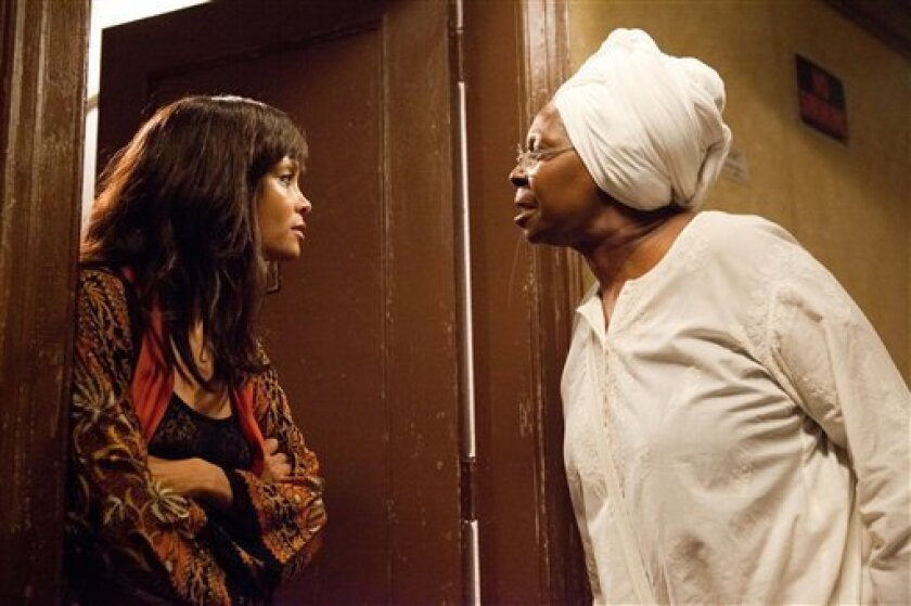 """In this film publicity image released by Lionsgate, Thandie Newton, left, and Whoopi Goldberg are shown in a scene from, """"For Colored Girls."""" (AP Photo/Lionsgate, Quantrell Colbert)"""