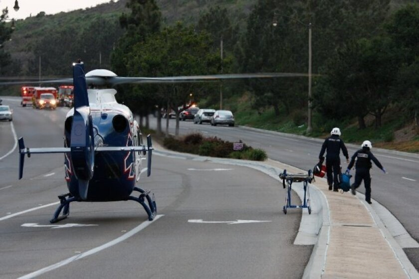 A medical helicopter landed on Leucadia Boulevard for the critically injured man. He was treated by paramedics but died at the scene.
