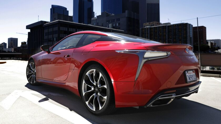 LOS ANGELES, CA-MAY 3, 2018: The Lexus LC500, photographed in downtown Los Angeles on May 3, 2018.