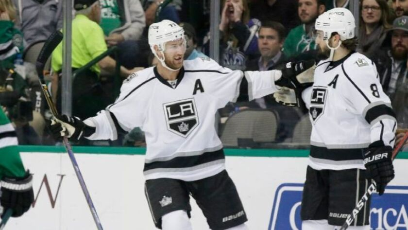 Kings center Jeff Carter, left, will play in his second All-Star game, while teammate Drew Doughty will make his third straight appearance.