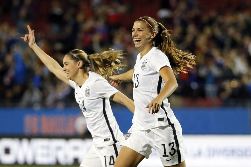 Unites States' Alex Morgan (13) and Morgan Brian (14) celebrate a goal scored by Morgan against Costa Rica during the first half of a CONCACAF Olympic qualifying tournament soccer match Wednesday, Feb. 10, 2016, in Frisco, Texas. (AP Photo/Tony Gutierrez)