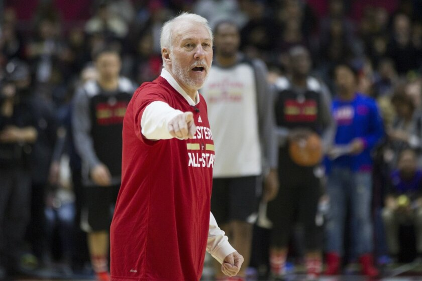 Western Conference coach Gregg Popovich, of the San Antonio Spurs, takes part in practice at the NBA All-Star Game in Toronto on Saturday, Feb. 13, 2016. (Chris Young/The Canadian Press via AP) MANDATORY CREDIT