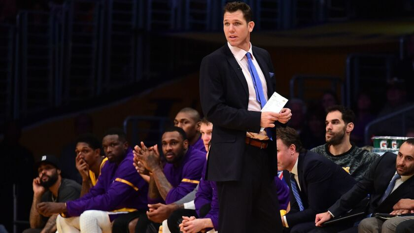 Luke Walton coaches the Lakers during a 101-89 loss to Dallas on Dec. 29 at Staples Center.
