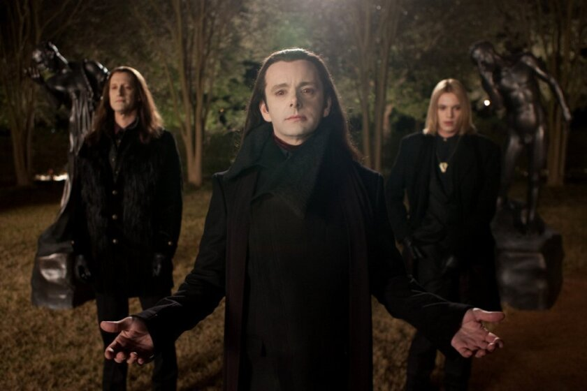 """Michael Sheen, center, plays Aro in """"The Twilight Saga: Breaking Dawn -- Part 2."""" With him are Christopher Heyerdahl, left, and Jamie Campbell Bower."""