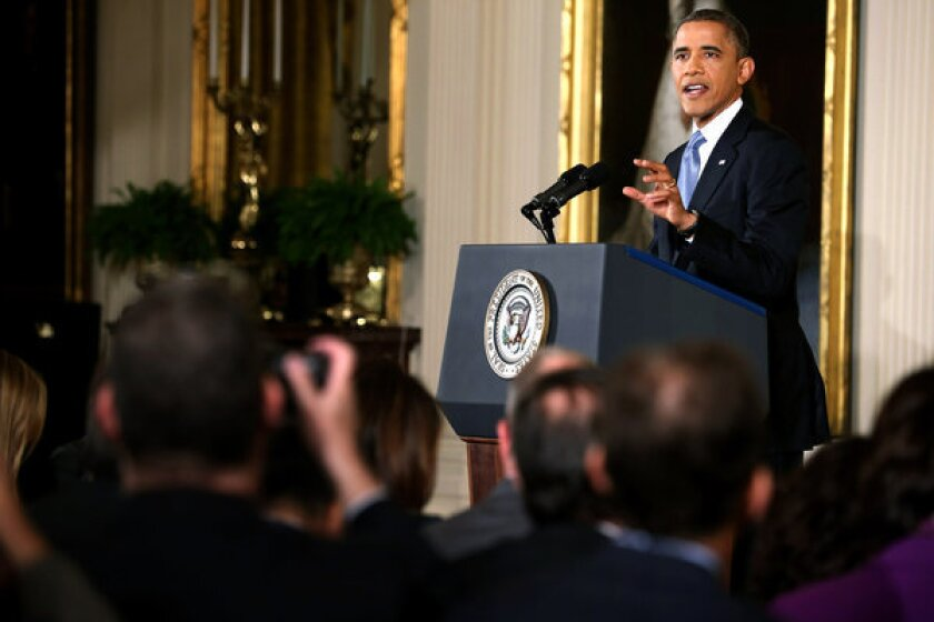 President Obama holds a news conference in the East Room of the White House in Washington, D.C.