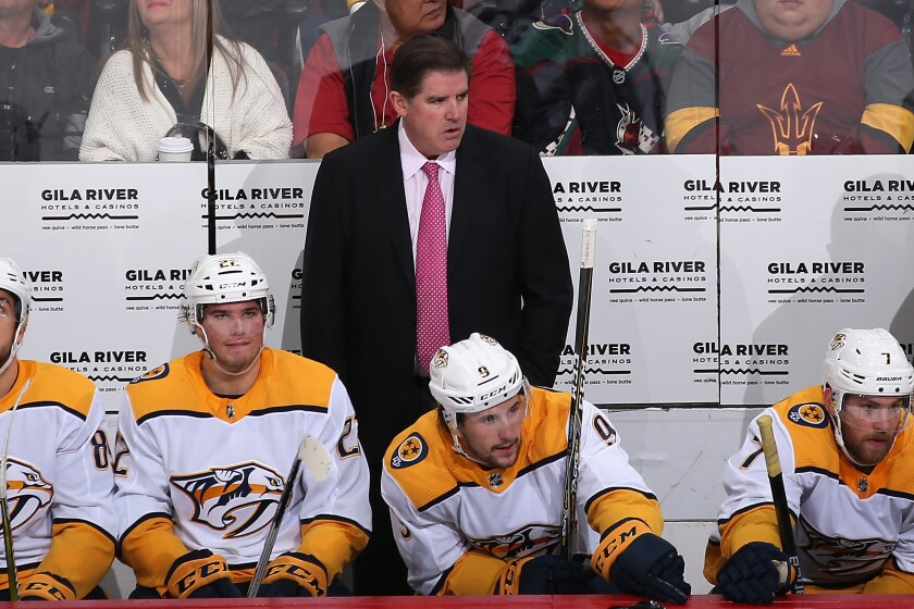 Predators coach Peter Laviolette was fired Monday after the team suffered its fourth loss in five games Sunday against the Ducks.
