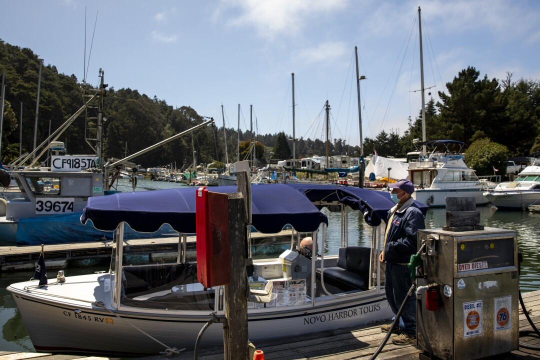 Dan Platt, owner of Noyo Harbor Tours, waits for clients
