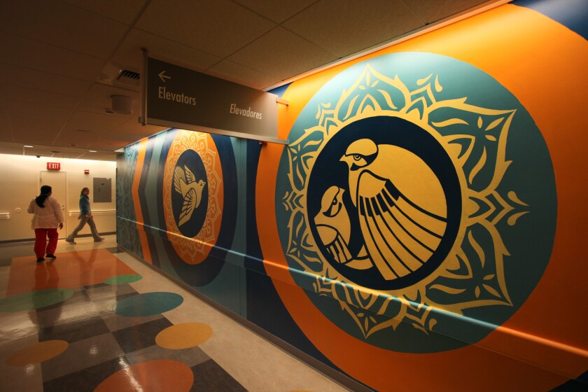 """A mural on the 8th floor of the pediatric wing of Los Angeles County+USC Medical Center. The county's Department of Health Services was targeted in a """"ransomware"""" hacking attack this week."""