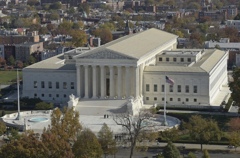 An aerial view of the Supreme Court from the Capitol dome in Washington.