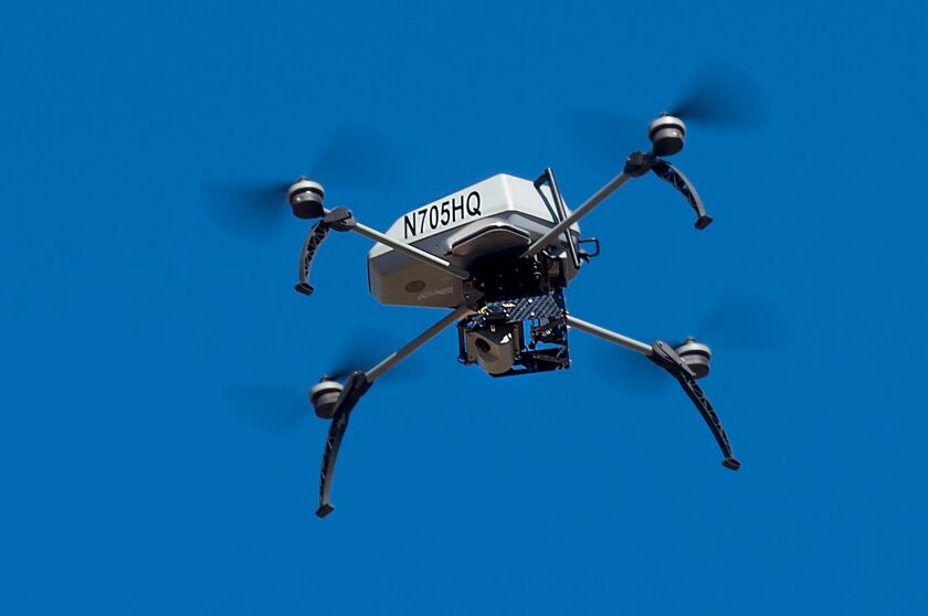 A drone operated by the Alameda County Sheriff's Office flies during a demonstration of a search and rescue operation on Friday, Aug. 14, 2015, in Dublin, Calif. As law enforcement joins the ranks of hobbyists sending drones into California skies, civil liberties advocates are raising the specter of unchecked police surveillance and state lawmakers are drafting limits. (AP Photo/Noah Berger)