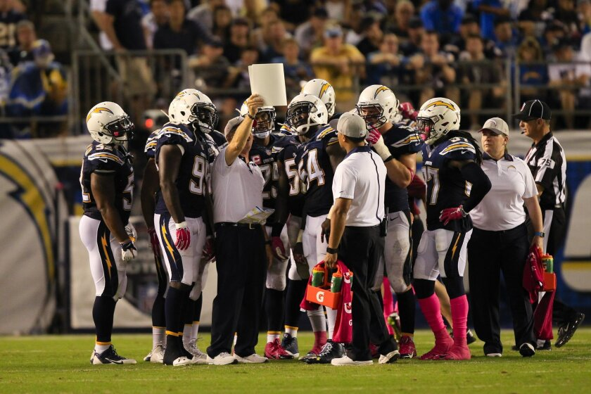 The Chargers kickoff team looks over a play in the fourth quarter of Monday's loss to the Steelers.