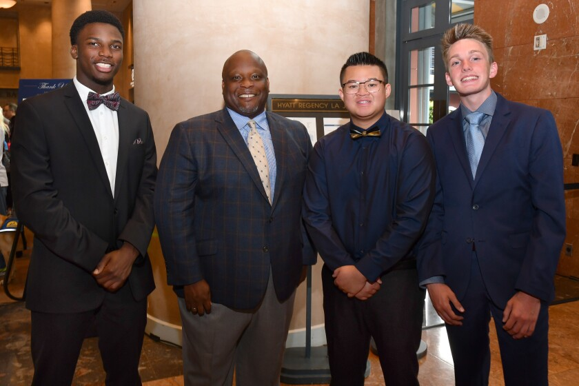 Christian A. (Washington Military Youth of the Year; won the event's competition and was named 2019 Pacific Military Youth of the Year), Gregory Doss (B&G Clubs of America sr. director of strategy), Leon N. (Utah Military Youth of the Year), Benjamin R. (Arizona Military Youth of the Year)