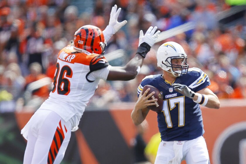 Chargers  Philip Rivers is sacked by Carlos Dunlap in the 3rd quarter.