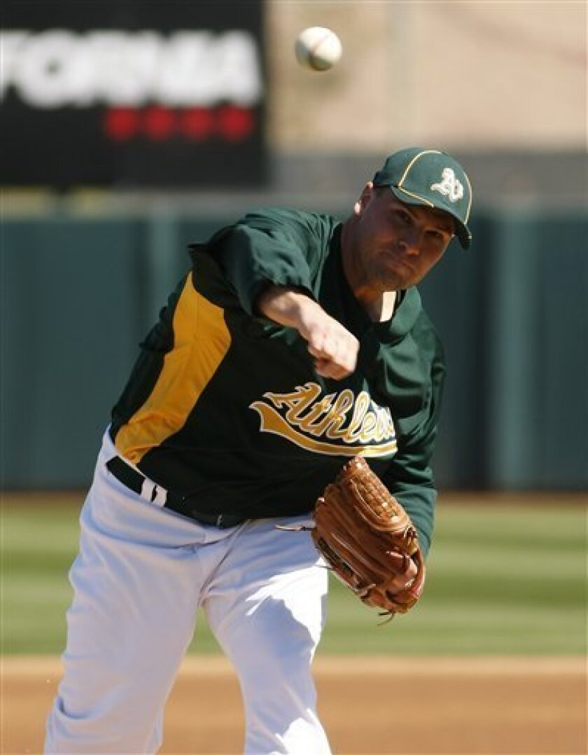 Oakland Athletics' Ben Sheets throws during the first inning against the Milwaukee Brewers during a spring training baseball game on Friday, March 5, 2010, in Phoenix. (AP Photo/Rick Scuteri)