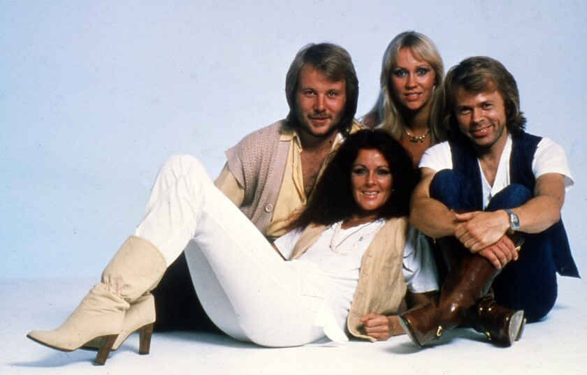 This 1977 photo shows the Swedish pop group ABBA: from left, Bjorn Ulvaeus, Agnetha (known as Anna) Faltskog, Anni-Frid (known as Frida) Lyngstad and Benny Anderson.
