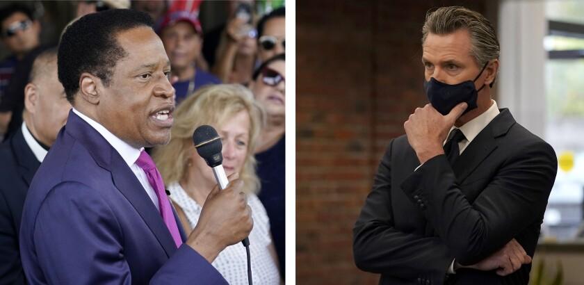 Larry Elder, left, speaks  in Norwalk. Gov. Gavin Newsom, right, listens at a news conference in Oakland.