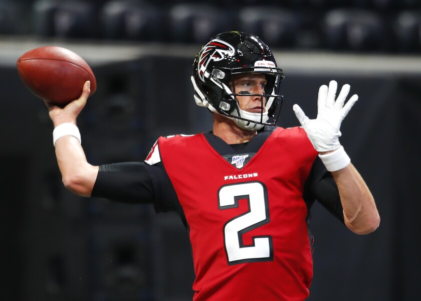 Falcons quarterback Matt Ryan warms up before a preseason game against the Jets on Aug. 15, 2019.