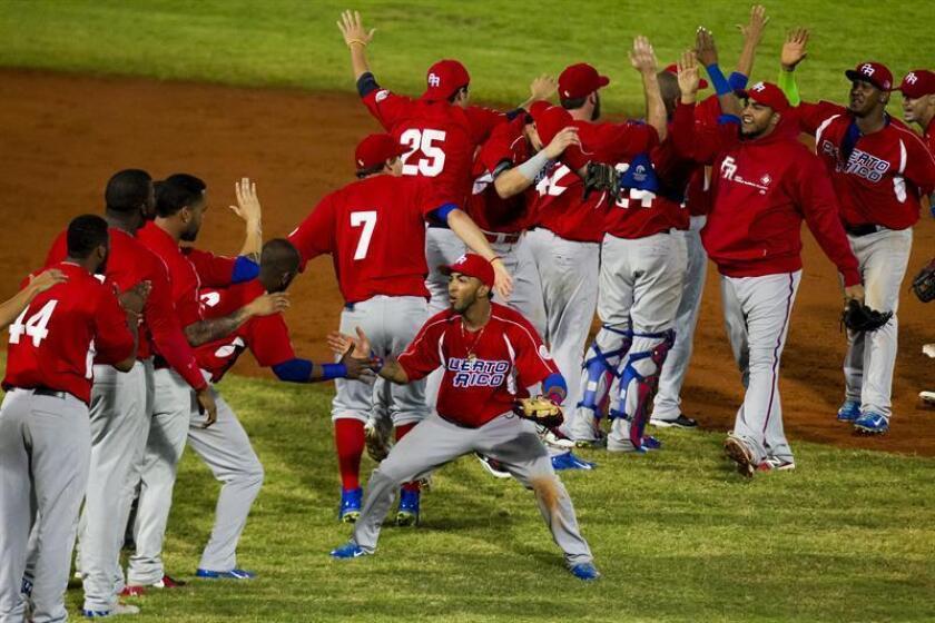 Jugadores de los Indios de Mayagüez de Puerto Rico celebran su victoria. EFE/Archivo