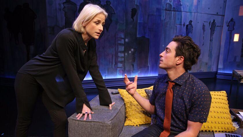 Ben Feldman with Mamie Gummer, who co-stars as his ex.