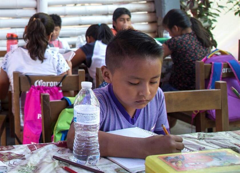 Fotografía fechada el 25 de febrero de 2018, que muestra a un menor realizando labores escolares, en Ciudad de México (México). La exigencia de los padres hacia los hijos, principalmente en el ámbito educativo, ha incrementado la ansiedad en los pequeños de edad preescolar, señaló hoy una especialista. EFE