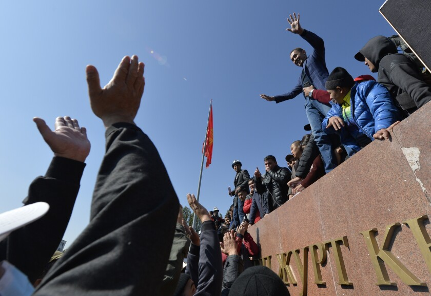 Protesters in the central square of Bishkek, Kyrgyzstan, on Wednesday