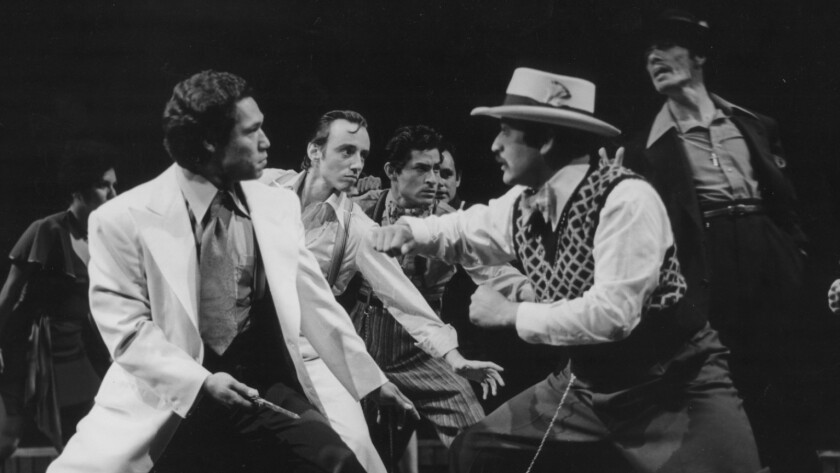 """The Mark Taper Forum's world premiere of Luis Valdez's """"Zoot Suit"""" featured Daniel Valsez, left, Miguel Delgado in the foreground, with (in the background, from left) Roberta Delgado Esparza, Paul Mace, Mike Gomez, Enrique Castillo and Edward James Olmos."""