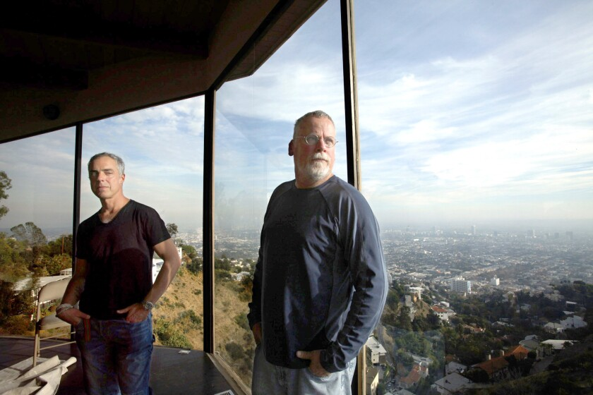 """Actor Titus Welliver, left, and mystery writer Michael Connelly are working together on the Amazon series """"Bosch."""""""