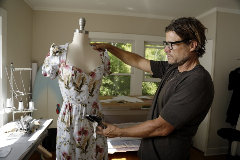 Designer Tracy Feith at work at his home in Beachwood Canyon. Several years ago, he created a frothy prairie-style dress and posted it to his Instagram account. He received eight orders for the $795 dress in two hours.