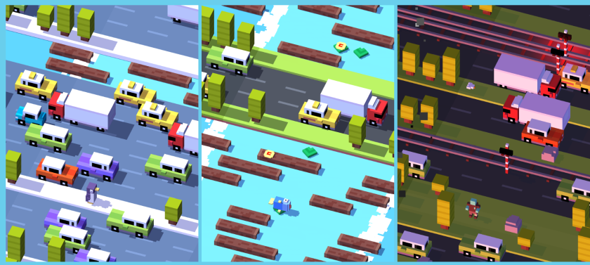 """Scenes from """"Crossy Road,"""" a popular mobile game launched in November 2014 that now comes in a Disney-themed version."""