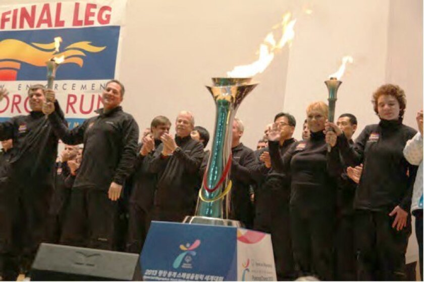 The last World Games Final Leg, which took place in February 2013, when an international team of law enforcement officers and Special Olympics athletes conducted runs and ceremonies throughout the Republic of Korea.