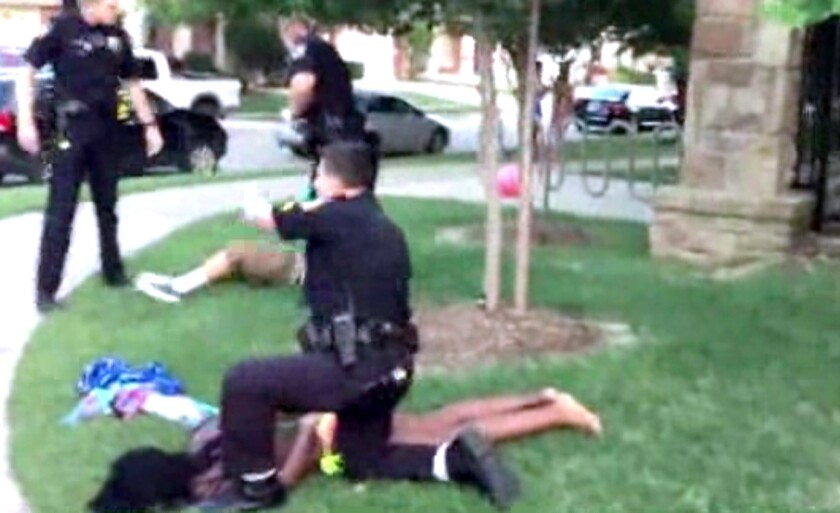 A McKinney, Texas, police officer resigned after being shown on video pushing a 14-year-old girl in a swimsuit to the ground and pointing his gun at other teens on June 5.