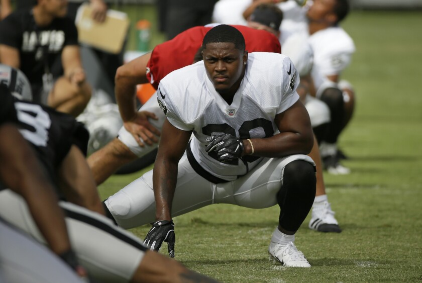 Oakland Raiders running back Josh Jacobs (28) will be Jon Gruden's featured back this season after being drafted in the first round.