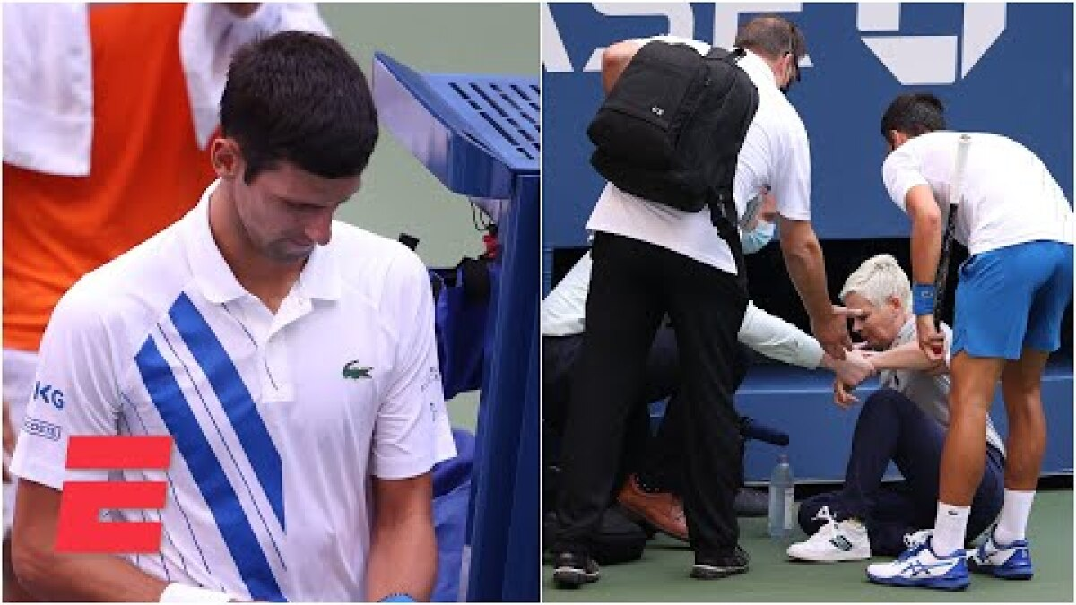 U S Open Novak Djokovic Out After Hitting Line Judge With Ball Los Angeles Times