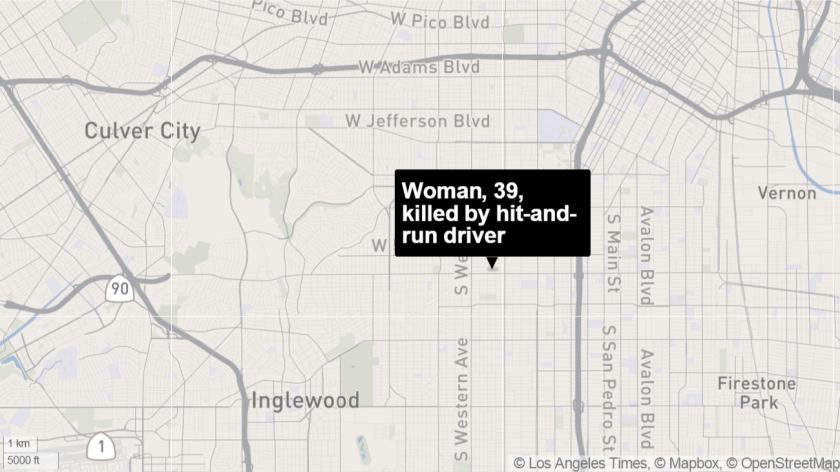 Treva Arnold, 39, was struck by a motorist early Sunday at the intersection of Slauson and Denker avenues, police said.