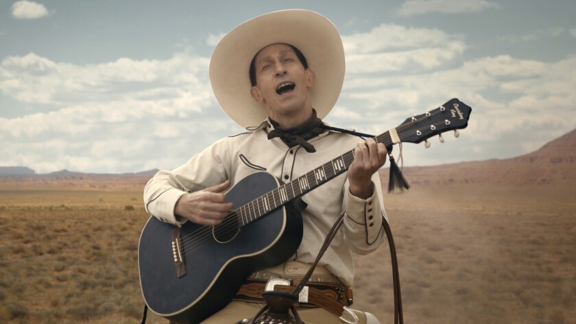 "This image released by Netflix shows Tim Blake Nelson as Buster Scruggs in a scene from ""The Ballad"