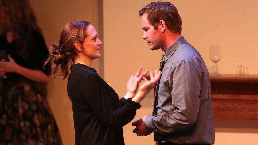 "Director Christy Yael-Cox goes over a scene with ""Perfect Arrangement"" cast member Joshua Jones."
