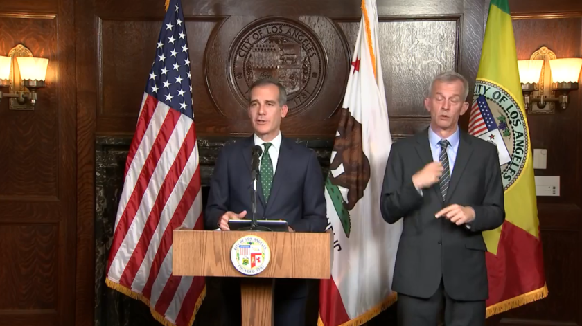 Mayor Eric Garcetti received his first coronavirus shot last week, an aide said.