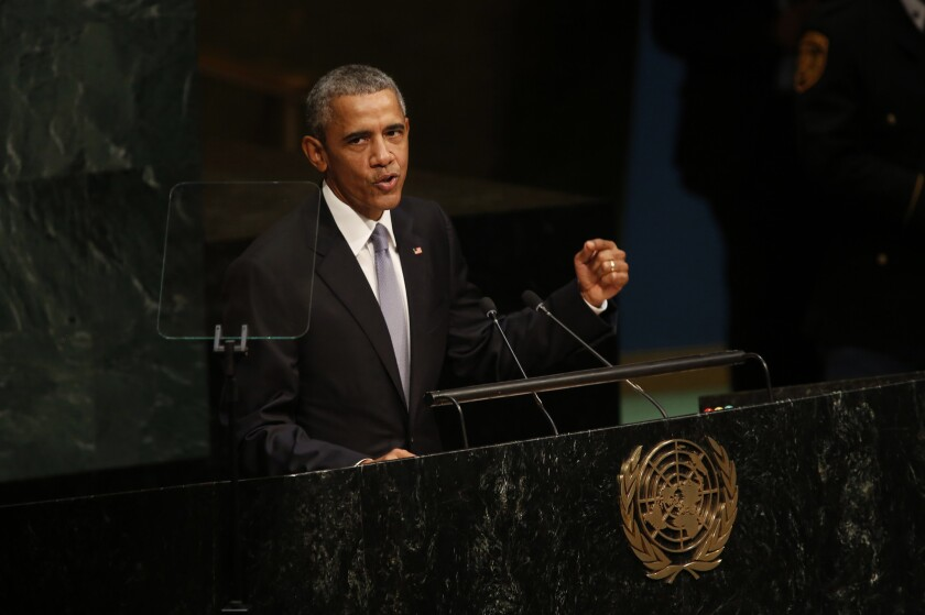 President Obama addresses the United Nations 70th General Assembly on Sept. 28.