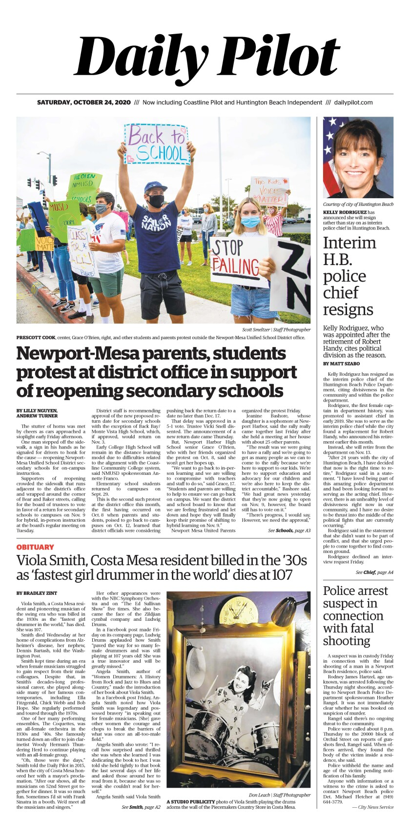Front page of Daily Pilot e-newspaper for Saturday, Oct. 24, 2020