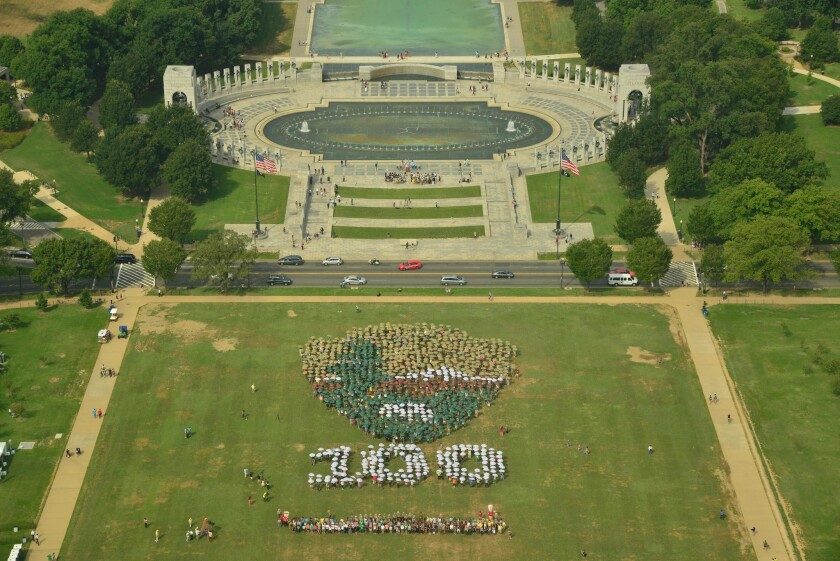 The National Park Service held a flashy birthday event -- 1,200 people creating its logo -- at the Washington Monument's grounds on Aug. 25 to mark its 100th year. The monument's elevator, however, was broken and is still being repaired.