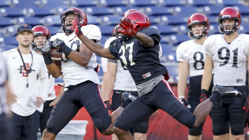 San Diego State wide receiver JR Justice pulls in a second-half reception in front of cornerback Tyree Bracy during Saturday's scrimmage at SDCCU Stadium.