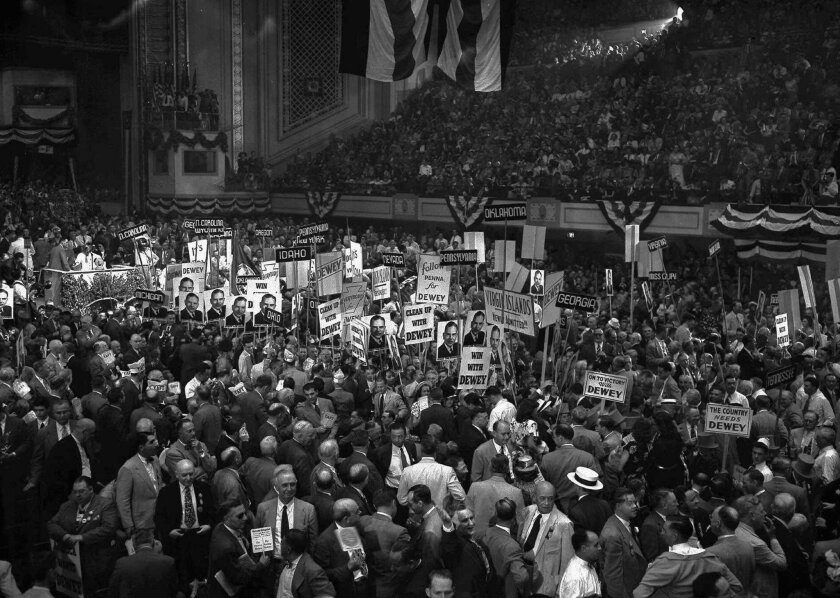 In 1948, Thomas Dewey won the Republican presidential nomination on the third ballot of a contested convention in Philadelphia.