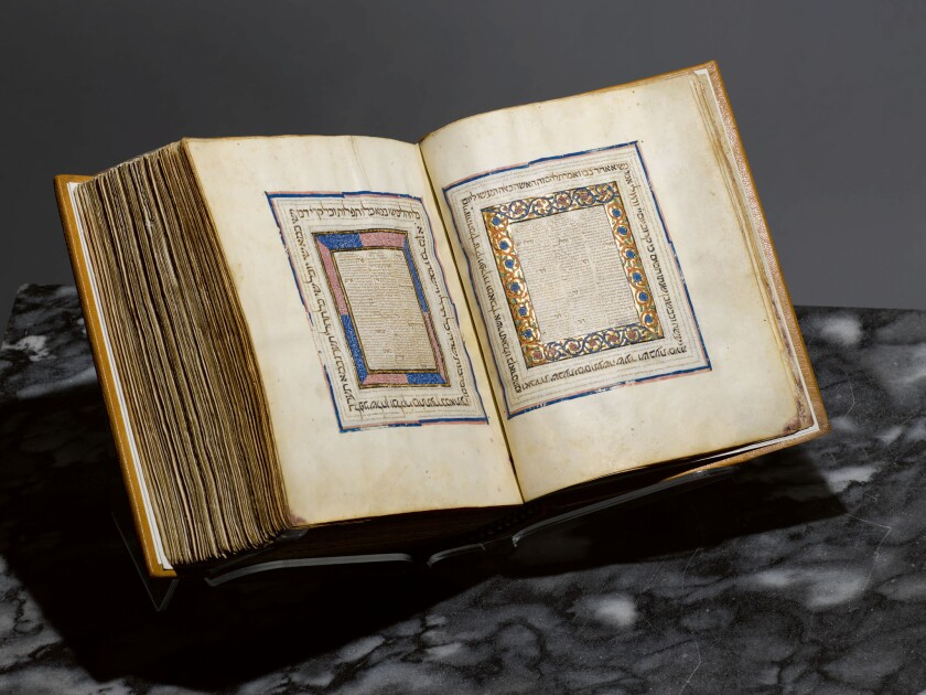 The 14th century illuminated Hebrew Bible from Spain sold before auction to The Metropolitan Museum of Art in New York.