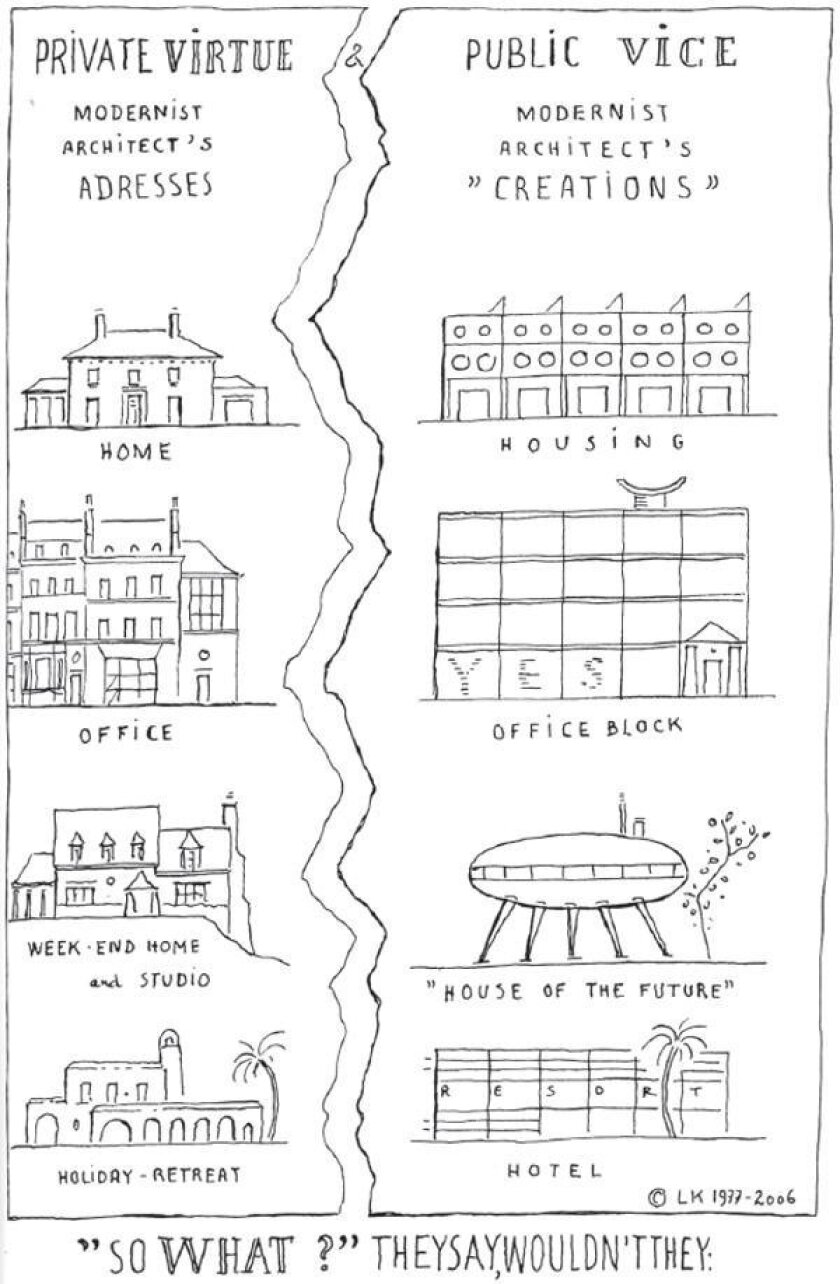 Modernist architects, according to Krier, who prepared this drawing for his latest book, live, work and play in traditionally designed buildings, but for their clients, they specify oddball shapes. - The Architecture of Community