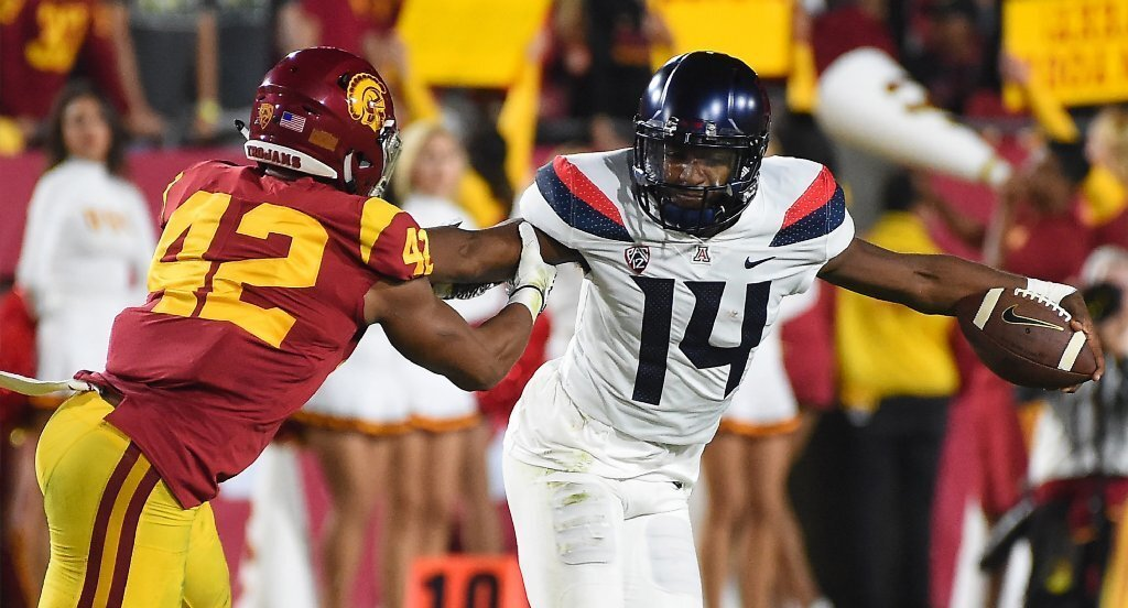 USC linebacker Uchenna Nwosu pressures Arizona quarterback Khalil Tate during the first half of a game at the Coliseum.