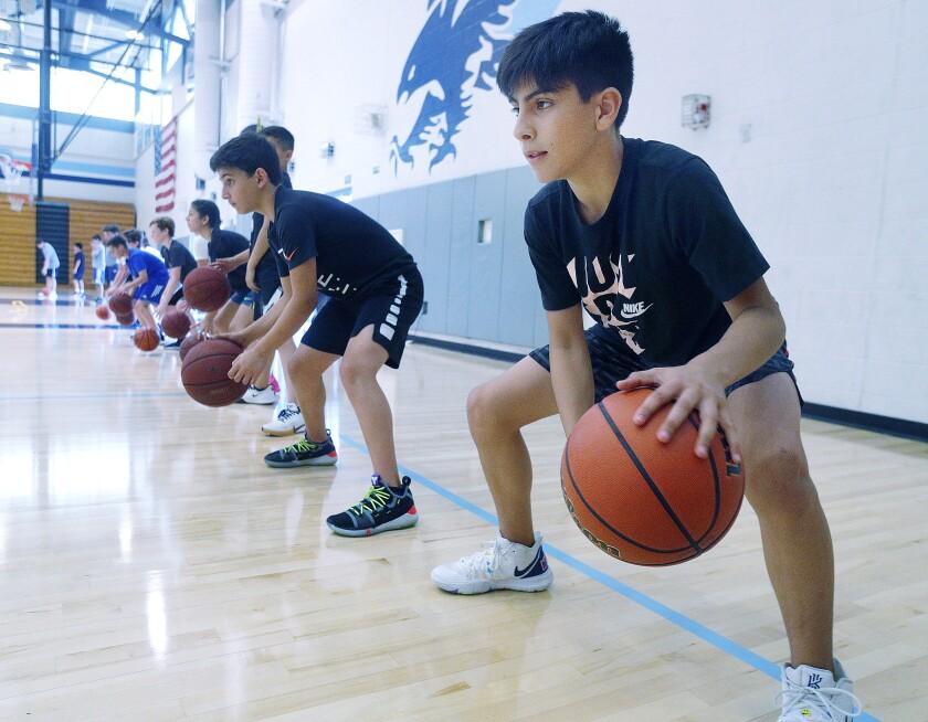 Basketball camp at Crescenta Valley High.