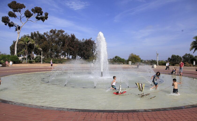 Bea Evenson Fountain, when it was operating in pre-drought emergency days in 2014.