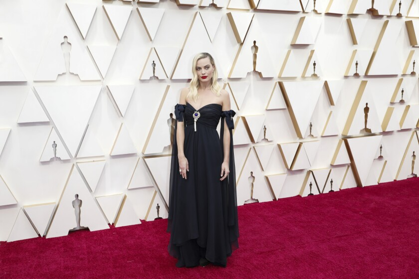 Margot Robbie was part of Sunday's sustainability fashion message at the Oscars.